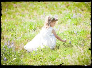 little girl in fowers